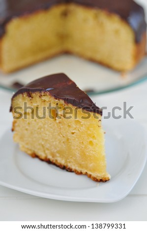Vanilla Cake with chocolate frosting - stock photo