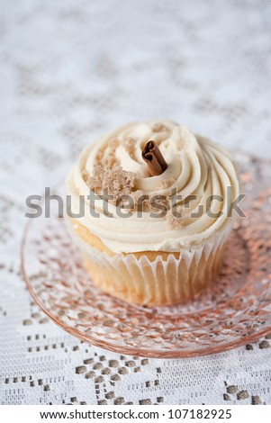 Vanilla Cupcake with Cream Cheese Frosting and Cinnamon - stock photo