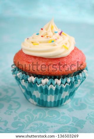 Vanilla cupcake with icing on a aqua background - stock photo