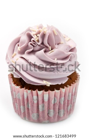 Vanilla cupcakes, decorated with lavender-coloured butter cream