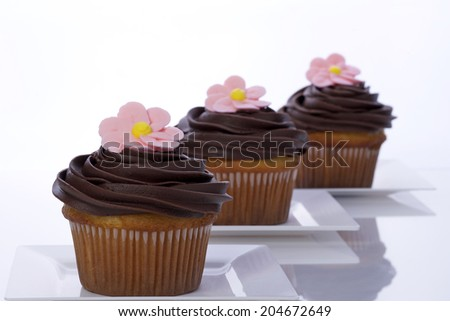 Vanilla cupcakes with chocolate frosting on white plates topped with royal icing pink daisy flower created on a flower nail - stock photo