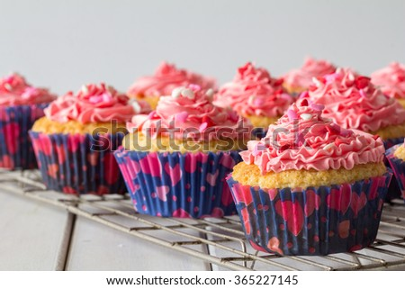 Vanilla Cupcakes with Pink Butter Cream Frosting and Heart Sprinkles on a Baking Rack Selective Focus - stock photo