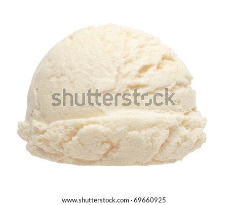 Vanilla ice cream scoop from side on white background