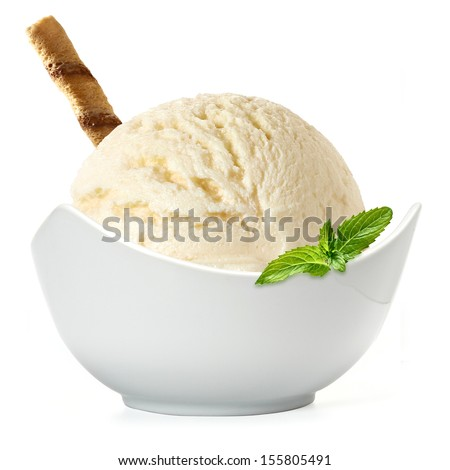 Vanilla ice cream scoop in bowl on white background - stock photo