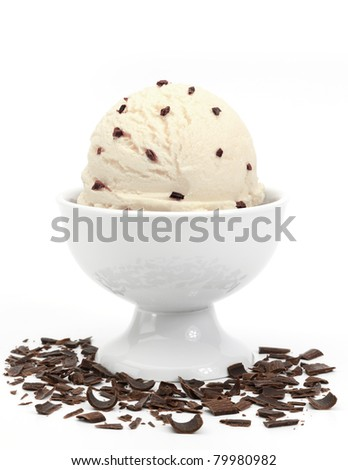 vanilla ice cream with chocolate chips in bowl on white background