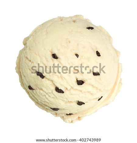 Vanilla ice cream with chocolate chips on white background - stock photo