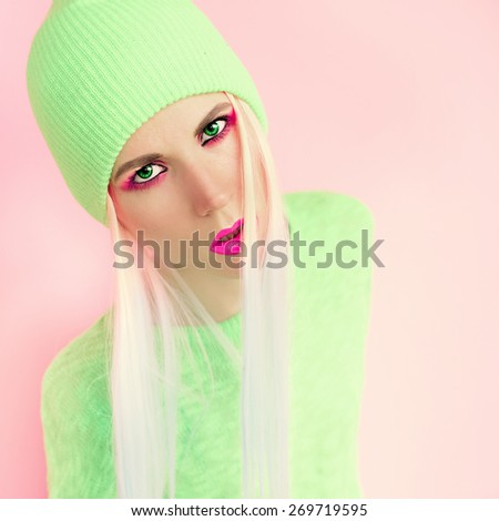 Vanilla Lady style. Trendy  Pink Hair - stock photo