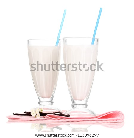 Vanilla milk shakes isolated on white