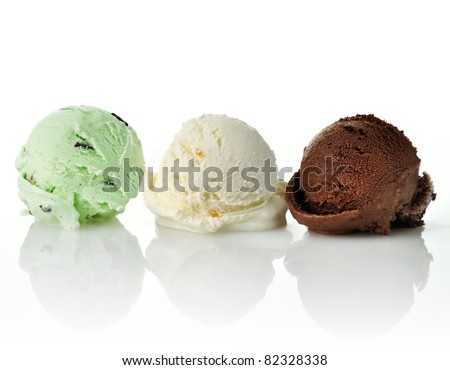 vanilla , mint and chocolate ice cream scoops - stock photo