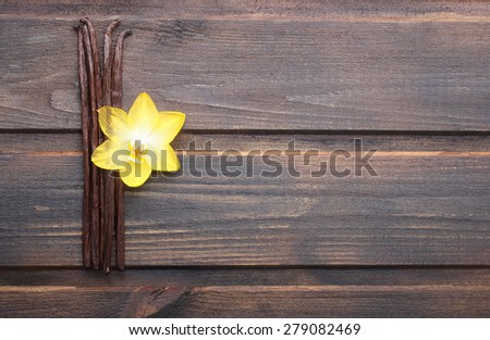 Vanilla pods and orchid flower on wooden background - stock photo