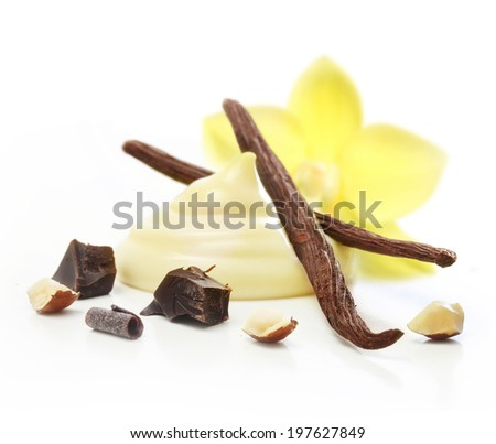 Vanilla pods, flower and cream isolated on white background - stock photo