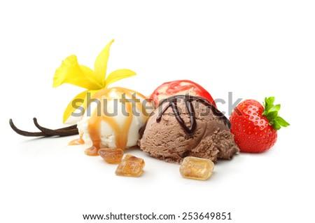 Vanilla pods, flower and ice cream isolated on white background - stock photo