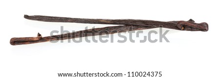 Vanilla pods isolated on white - stock photo