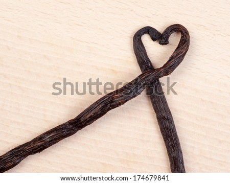 Vanilla sticks - love symbol - stock photo