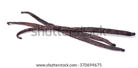 Vanilla sticks on white isolated - stock photo