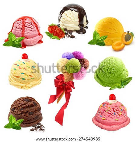 Vanilla, strawberry, mint and chocolate ice cream scoops collage on white background - stock photo