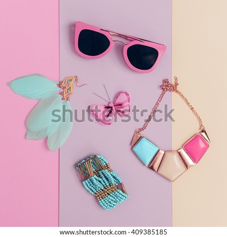 Vanilla Summer trend. Fashionable. Women's Accessories. Necklace, Sunglasses, Bracelets, Earrings. Detail fashion