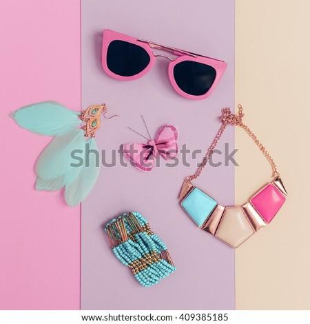 Vanilla Summer trend. Fashionable. Women's Accessories. Necklace, Sunglasses, Bracelets, Earrings. Detail fashion - stock photo