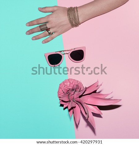 Vanilla Tropical Summer. Fashion Accessories. Jewelry and Pink Sunglasses. - stock photo
