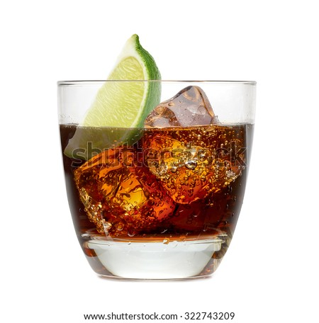 Vanilla, vodka and cola with lime wedge isolated on white background - stock photo