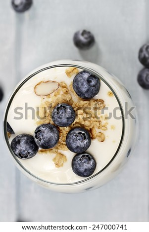 Vanilla yogurt parfait with granola and blueberries with extreme shallow depth of field. - stock photo