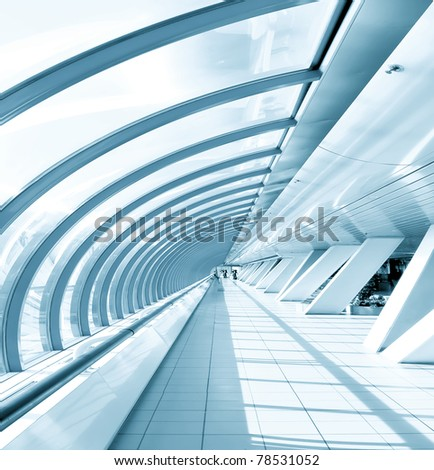 vanishing corridor in office center - stock photo
