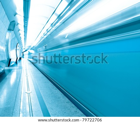 vanishing platform with leaving trains - stock photo