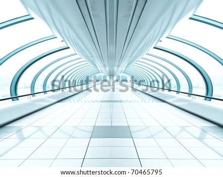 vanishing transparent hallway - stock photo