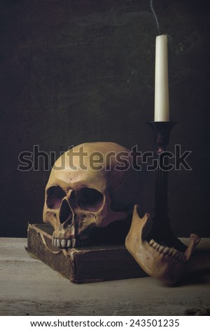 Vanitas with Skull, Candle and Book