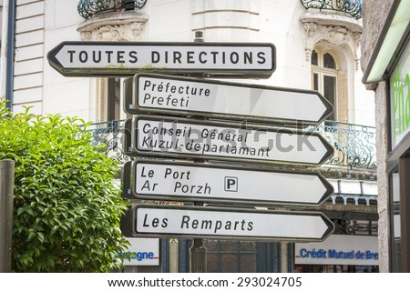 VANNES, FRANCE â?? JULY 28, 2014: French road signs showing various directions - stock photo
