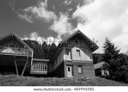 VANOISE, FRANCE - AUGUST 10, 2016: Typical Alpine hut for hikers. There are about 4000 mountain huts, refuges, hiking hostels, and trekking cabins across France.
