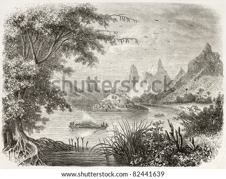 Vanua Levu old view, Fiji islands. Created by De Bar after Williams, published on Le Tour du Monde, Paris, 1860 - stock photo