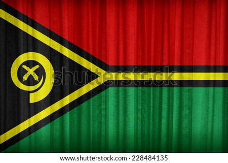 Vanuatu flag pattern on the fabric curtain,vintage style - stock photo