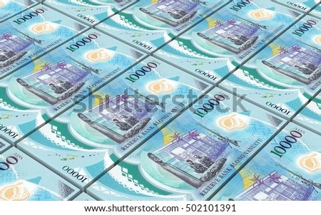 Vanuatu vatu bills stacked background. 3D illustration.