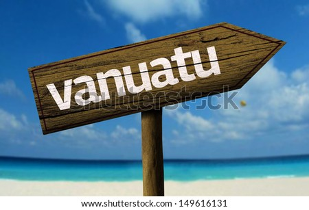 Vanuatu wooden sign with a beach on background - stock photo