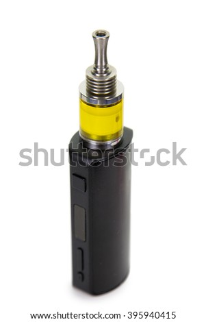 Vaping parts. Box mod and stainless steel clearomizer with yellow transparent tank. Isolated over white background.