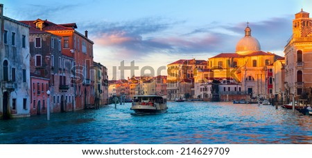 Vaporetto ride on the Grand Canal. Venice, Italy. - stock photo