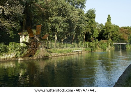 Vaprio d'Adda (Mi), Italy, an old water mill along the Martesana canal