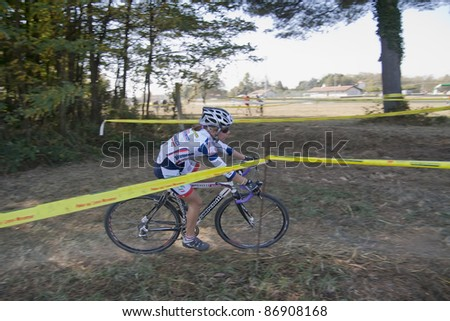 "VAPRIO d'AGOGNA, ITALY-OCTOBER 16: Pollicini Silvia competes in the ""Supercross Vaver"" race on October 16, 2011 in Vaprio d'Agogna, Italy"
