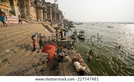 VARANASI, INDIA - CIRCA MAY 2014: Holy ghats view. Varanasi is one of the oldest continuously inhabited cities in the world and the oldest in India.  - stock photo