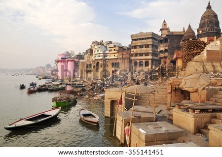 VARANASI, INDIA - DECEMBER 27: people makes preparation for the funeral ceremony on December 27, 2013 in Varanasi.