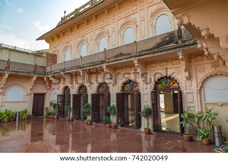 Varanasi, India, October 14,2017: Ancient royal residence interior structure with balcony and artwork of a building near Maan Mandir Ghat , Varanasi India.
