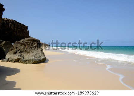 Varandinha - Bracona beach in Boa Vista, Cape Verde - stock photo