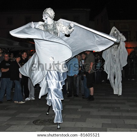 VARAZDIN, CROATIA- AUGUST 29: The largest street festival in the region known as Spancirfest. Artists from many countries performing on the streets of Varazdin,29 August, 2010 in Varazdin. - stock photo