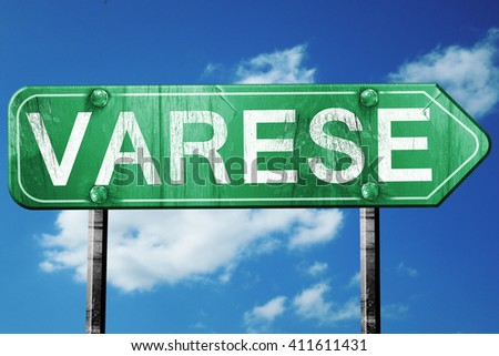 Varese road sign, 3D rendering, vintage green with clouds backgr