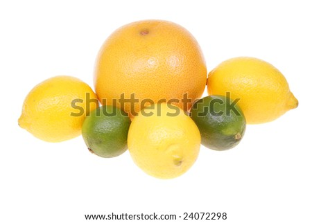 variable types of exotic fruits isolated on white background
