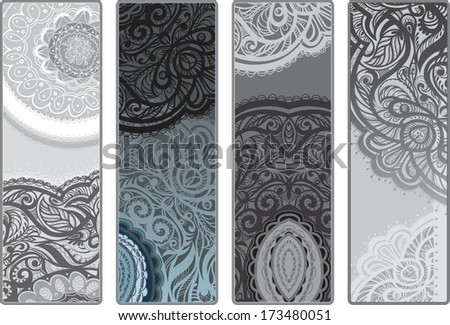 Variants vertical flyers . Monochrome decor of lace. raster version. - stock photo