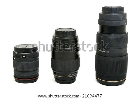 variation of auto photographic camera lenses isolated on white - stock photo