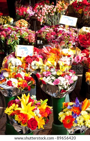 Variation of flowers for sale at the market