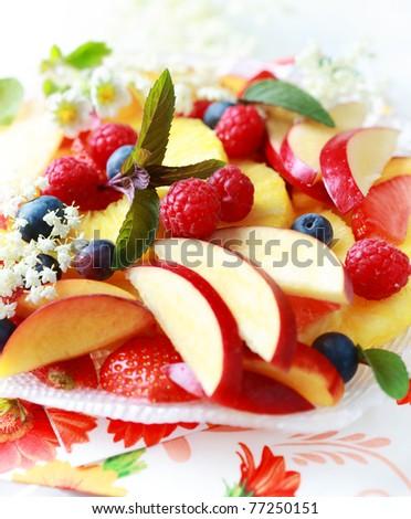 Variation of fresh fruits as dessert - stock photo
